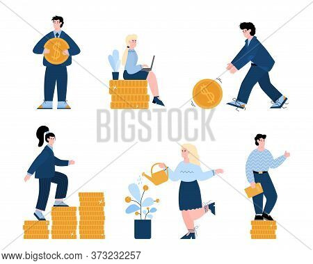 A Set Of Illustrations Of Successful Business Men And Women. A Businessman Or Manager Pushes A Gold