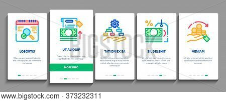 Refinance Financial Onboarding Mobile App Page Screen Vector. Mortgage And Credit Car, Debt Obligati