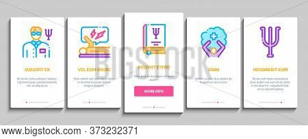 Psychotherapy Help Onboarding Mobile App Page Screen Vector. Handshake And Brain, Psychotherapist An