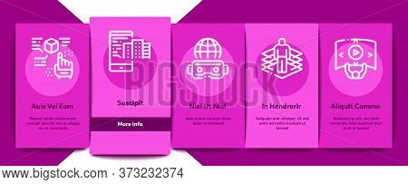 Simulation Equipment Onboarding Mobile App Page Screen Vector. Virtual Reality Vr Glasses And Simula