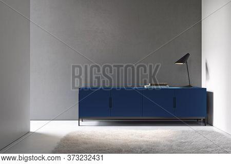 Minimalism Interior With Gray Wall, Blue Dresser And Decor. 3d Render Illustration Mock Up.