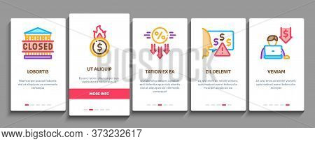 Bankruptcy Business Onboarding Mobile App Page Screen Vector. Bankruptcy Shop And Company, Closed Of