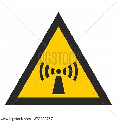 Yellow Triangle Attention Electromagnetic Radiation. Radiation Hazard. Sign  Isolated On White Backg