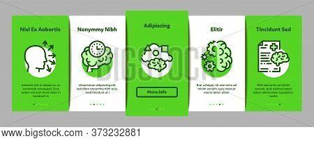 Dementia Brain Disease Onboarding Mobile App Page Screen Vector. Dementia Mind Degenerative Illness,