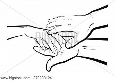 Man Holds A Womans Hand In His Palms. Marriage, Family, Wedding Ceremony. Isolated Eyelid On A White