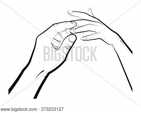 Man Puts A Wedding Ring On A Womans Finger. Marriage, Family, Wedding Ceremony. Isolated Eyelid On A