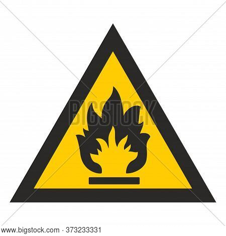 Flammable. Yellow Triangle. Sign  Isolated On White Background