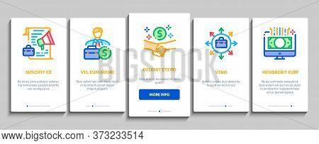 Entrepreneur Business Onboarding Mobile App Page Screen Vector. Entrepreneur Businessman And Agreeme