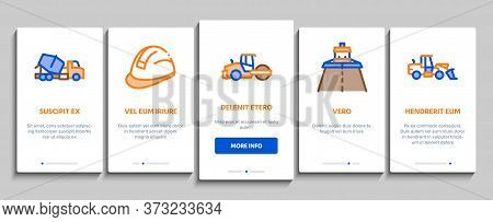 Road Repair And Construction Onboarding Mobile App Page Screen Vector. Road Repair And Maintenance E