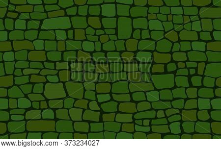 Crocodile Skin Pattern. Drawing On The Surface Reptile Skin. Green Croc Leather Texture. Animal Back