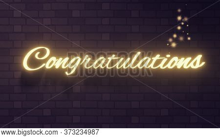The Word Congratulations On A Dark Brick Wall Background, 3d Rendering