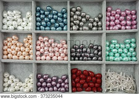 Decorative, Pearl, Plastic, Colored Beads And Metal Stars With Rhinestones For Decorative And Applie