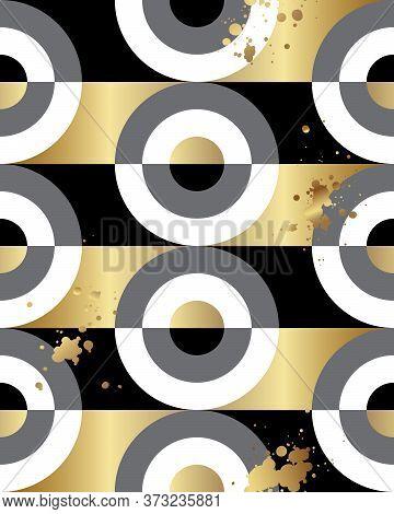 Seamless Pattern. Gold, Black And White Minimalist Scandinavian Style. Monochrome Contrast Circles W