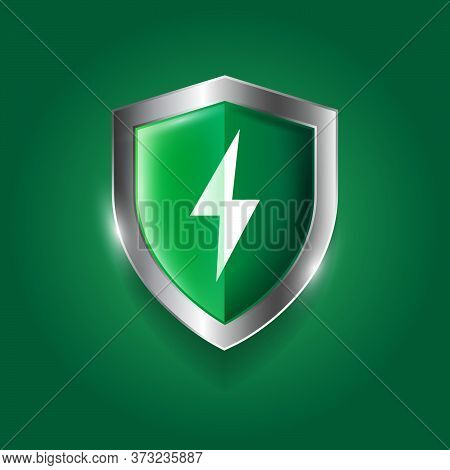 Protection Icon. Glossy Green Shield With Lightning. Antivirus And Saving Documents.