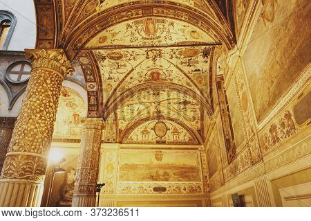 Florence, Italy - October 2019: Interior Of The First Courtyard Of The Palazzo Vecchio, The Town Hal