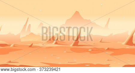 Martian Landscape With Danger Sharp Rocks Game Background Tillable Horizontally, Orange Sand Hills W