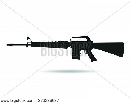 03-m16 Icon .machine Gun Black Silhouette. Vector Illustration