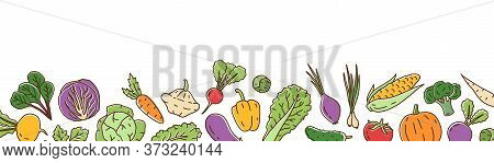 Colorful Fresh Organic Vegetable Horizontal Background In Line Art Style. Bright Healthy Vegetarian