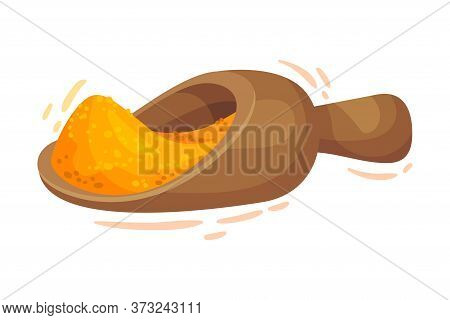Powdered Dried Turmeric Root Poured In Kitchen Scoop Vector Illustration
