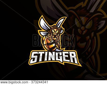 Bee Mascot Sport Logo Design. Bee Animal Mascot Vector Illustration Logo. Wild Wasp Mascot, Emblem D