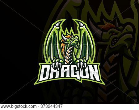 Dragon Mascot Sport Logo Design. Dragon Monster Mascot Vector Illustration Logo. Ancient Green Drago