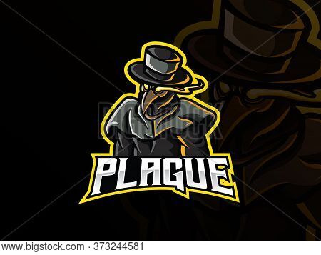 Plague Mascot Sport Logo Design. Doctor Plague Mascot Vector Illustration Logo. Dark Themed Mascot D