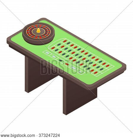 Casino Roulette Table Icon. Isometric Of Casino Roulette Table Vector Icon For Web Design Isolated O