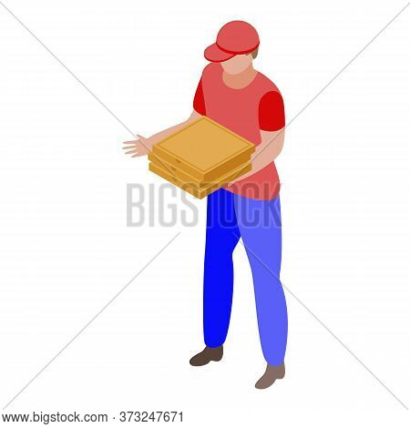 Courier Delivery Pizza Icon. Isometric Of Courier Delivery Pizza Vector Icon For Web Design Isolated