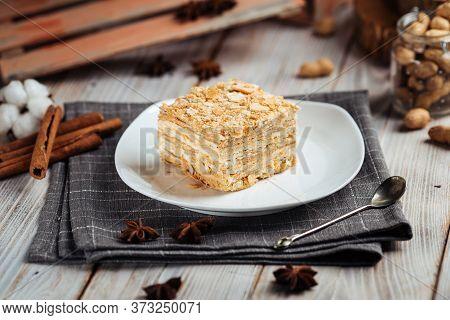 Cake Made Of Thin Crispy Layers And Cream Napoleon, Horizontal