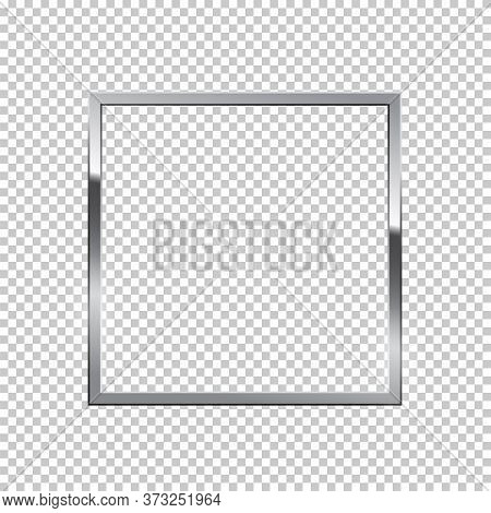 Shiny Sparkling Silver Square Vector Illustration. Glossy, Glowing Rendering Effect. Present For Eng