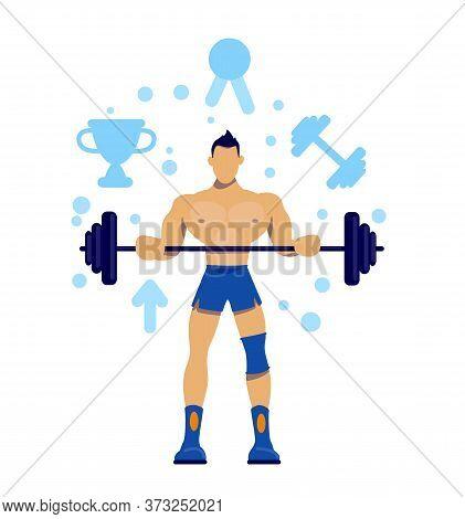 Sportsman Flat Concept Vector Illustration. Physical Wellness. Bodybuilding Training. Exercise For C
