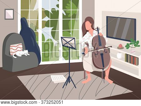 Cello Player At Home Flat Color Vector Illustration. Woman Play Musical Instrument. Pastime With Mus