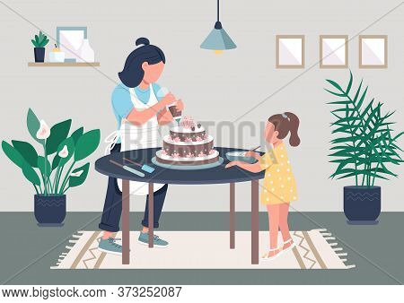 Family Cooking Flat Color Vector Illustration. Mom And Girl Decorate Cake Together. Creative Hobby F