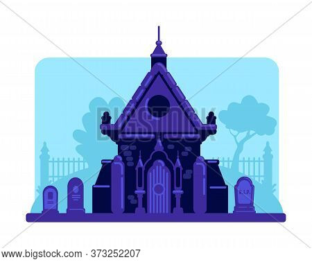 Old Stone Vault In Cemetery Flat Color Vector Illustration. Tombstones And Crypt Building. Spooky Ni