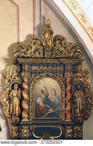 ZAGREB, CROATIA - NOVEMBER 03, 2012: Saint Matthew the Evangelist, altar Fourteen Holy Helpers in the church of St. Barbara in Vrapce, Zagreb, Croatia
