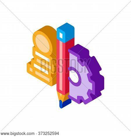 Coin Heap Pen And Mechanical Gear Icon Vector. Isometric Coin Heap Pen And Mechanical Gear Sign. Col