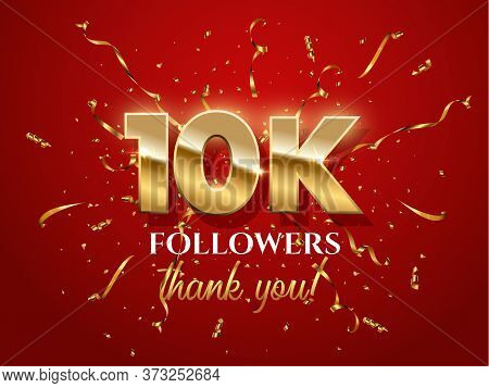 10000 Followers Celebration Vector Banner With Text. Social Media Achievement Poster. 10k Followers