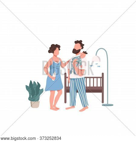 Young Family With Baby Flat Color Vector Faceless Characters. Childcare And Parenthood. Parents Feed
