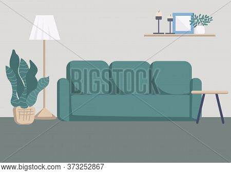 Modern Living Room Interior Flat Color Vector Illustration. Cozy Sofa And Houseplants In Contemporar