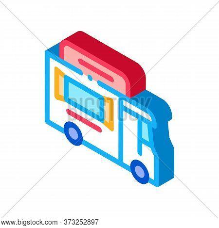 Street Food Van On Wheels Icon Vector. Isometric Street Food Van On Wheels Sign. Color Isolated Symb