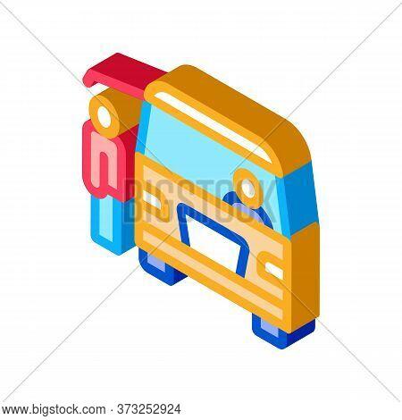 Fast Food Van Vehicle Icon Vector. Isometric Fast Food Van Vehicle Sign. Color Isolated Symbol Illus