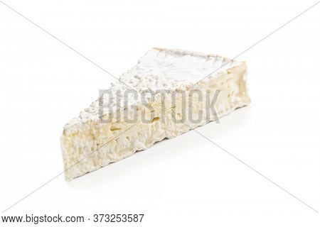 Brie cheese. White soft cheese with white mold isolated on white background.