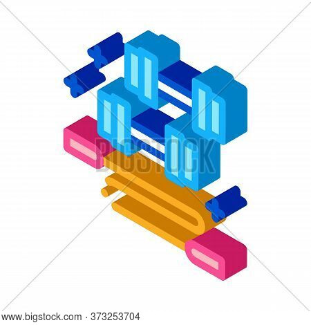 Dumbbells And Jump Rope Icon Vector. Isometric Dumbbells And Jump Rope Sign. Color Isolated Symbol I