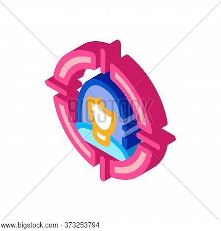 Woman In Target Aim Icon Vector. Isometric Woman In Target Aim Sign. Color Isolated Symbol Illustrat