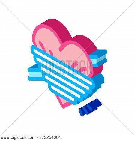 Heart Squeezed By Rope Icon Vector. Isometric Heart Squeezed By Rope Sign. Color Isolated Symbol Ill