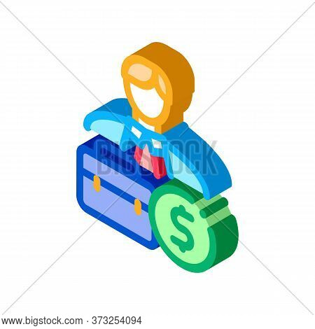 Businessman Case And Money Banknote Icon Vector. Isometric Businessman Case And Money Banknote Sign.
