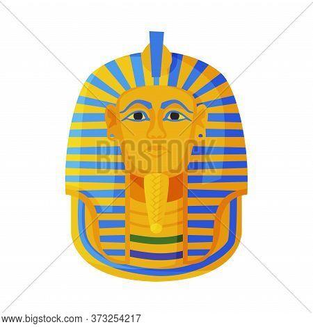 Tutankhamen Pharaoh Golden Mask, Symbol Of Egypt Flat Style Vector Illustration On White Background