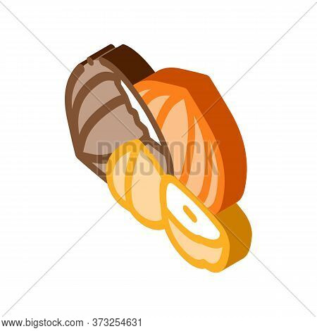 Hazelnut Nut Icon Vector. Isometric Hazelnut Nut Sign. Color Isolated Symbol Illustration