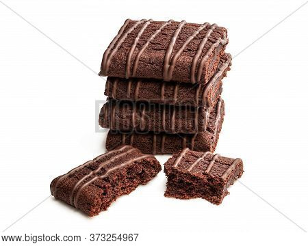 Stack  Of Chocolate Fudge Brownies Isolated On White