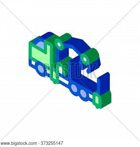 Manipulator Truck Icon Vector. Isometric Manipulator Truck Sign. Color Isolated Symbol Illustration